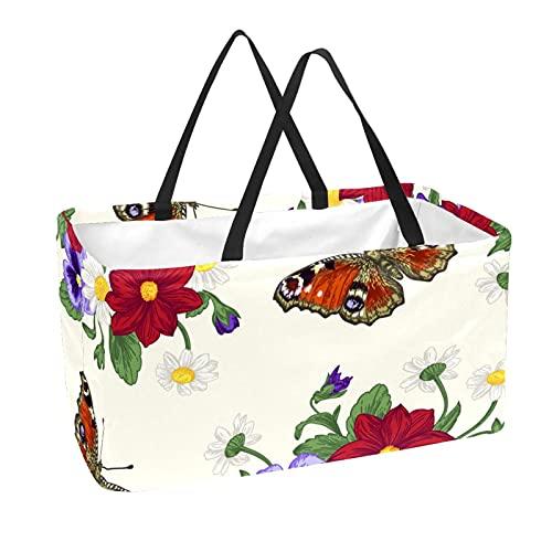 Bolsas reutilizables para comestibles cesta de compras 50 l con soporte columna bolsa de almacenamiento flores y mariposas