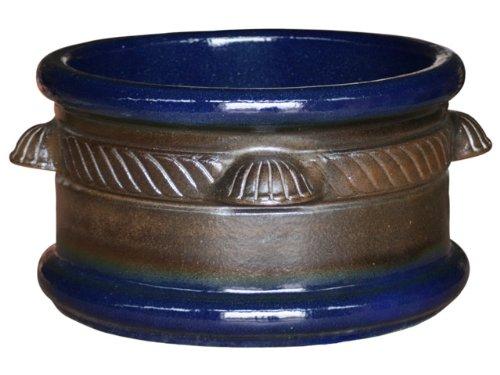 K&K Pflanzkübel Adiamus 50x30cm Farbe: braun-blau aus frostbeständiger Steinzeug-Keramik