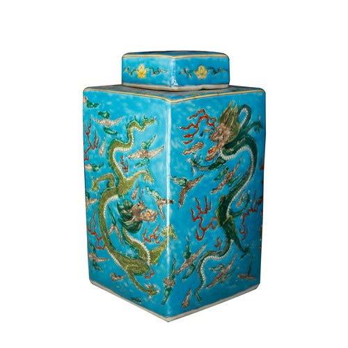 Fine Asianliving Tarro de Jengibre Chino Porcelana Dragón Pintado a Mano...