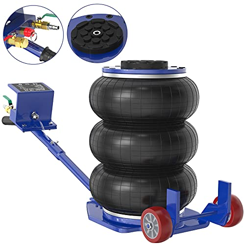 IMAYCC Gato Neumático 3T/6600 lbs portátil , Gato para Coche con diseño de Triple Bolsa , Gato Neumático de Aire,Rango de Altura de elevación 150-400 mm ,elevación rápida para automóviles (Azul)