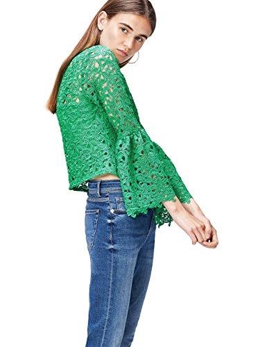 Amazon-Marke: find. Bluse Damen mit gesticktem Muster und Trompetenärmeln, Grün (Green), 40, Label: L
