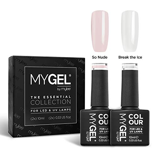 Mylee French Manicure, Duo-Gel-Nagellack, 2 x 10 ml, für UV/LED, Soak-Off, Nailart, Maniküre, Pediküre, für Profis, Salons und Zuhause, langlebig und einfach aufzutragen