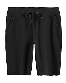 Weintee Women s Cotton Bermuda Shorts with Pockets 2X Black