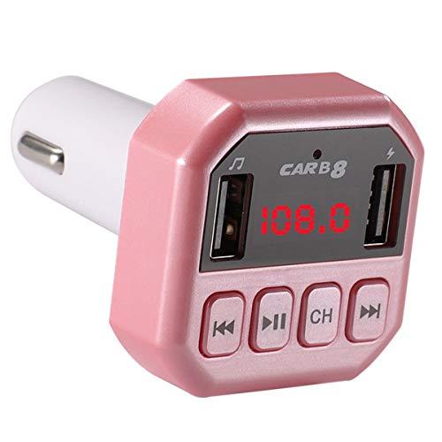 Dibiao 3,1 A oplader Dual USB ondersteuning handsfree draadloze Bluetooth 4.1 FM zender voor auto MP3-speler, Roze