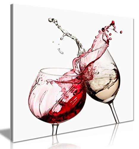 nobrand Drucken auf Leinwand Kunst Weingläser Küche Wand Leinwand Wandkunst Bild Moderne Wohnkultur Malerei 60x90cm (23,6x35,4 Zoll) Kein Rahmen