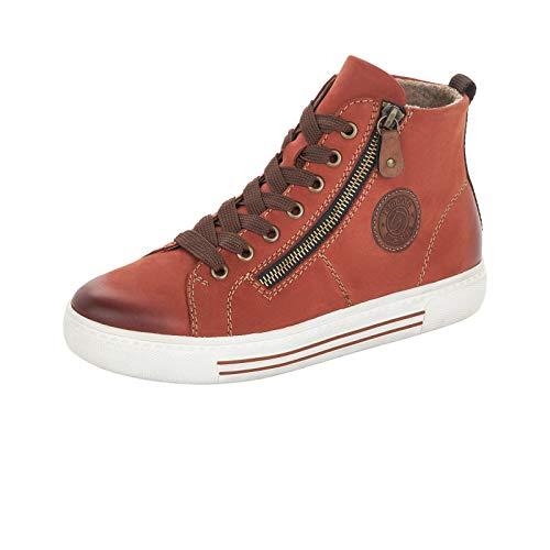 Remonte Damen Sneaker, Frauen High-Top Sneaker, schnürschuh Sneaker-Stiefel weiblich feminin Freizeit sportschuh mid,Orange(Ziegel),41 EU / 7.5 UK