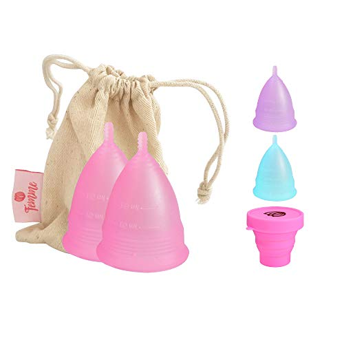 2x Femme Essentials Menstruationstasse - Diskret und Hygienische Menstruationskappe - aus medizinischem Silikon inkl. Satinbeutel und Deutscher Anleitung - Menstrual Cup - Rosa (L)