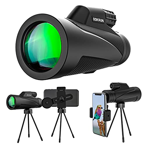 Monocular Telescope High Power Water-Shockproof - 12X50 Scope Clear FMC BAK4 Prism with Smartphone Adaptor Holder and 18cm Sturdy Tripod for Bird Watching,Traveling, Wildlife Scenery, Sport Watching