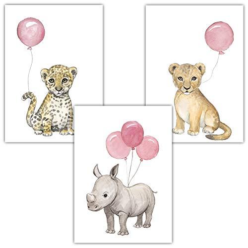 Frechdax® 3er Set Kinderzimmer Poster Baby Bilder DIN A4 | Waldtiere Safari Afrika Tiere Tierposter Luftballon Ballon Farbwahl (3er Set Rosa, Löwe, Nashorn, Leopard)