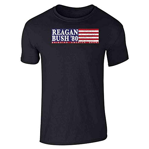 Pop Threads Ronald Reagan George Bush Retro Campaign Black L Graphic Tee T-Shirt for Men
