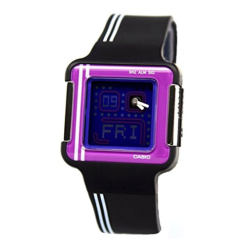Casio LCF-21-1DR - Orologio al quarzo da donna con quadrante analogico viola, display digitale e cinturino in resina nera