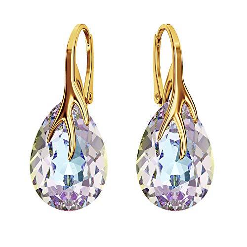 Pendientes chapados en oro de 24 K 925 con cristales de Swarovski® – muchos colores – pendientes para mujer – hermosa joya para mujer con caja de regalo