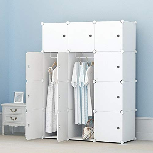 KOUSI Portable Closet Wardrobe Closets Clothes Wardrobe Bedroom Armoire Storage Organizer with Doors, Capacious & Sturdy, White, 6 Cubes+2 Hanging Sections