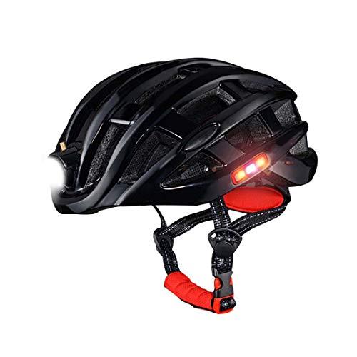 SPFTOY Casque de vélo avec Avertissement Lumineux lumière Insect-Proof Net Mountain Road Casque d'équitation équipement Hommes et Les Femmes,Noir