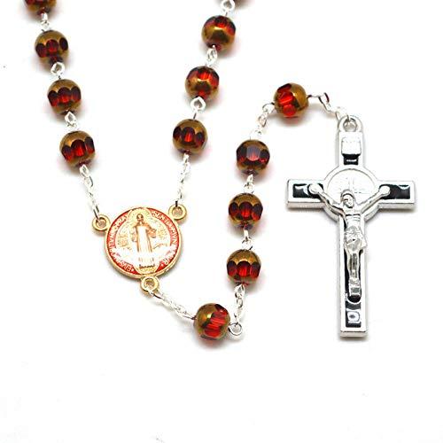 Collar del Rosario Católico De San Benito para Los Hombres Rojo Facetado Vidrio Cuentas Tamaño 8 Mm
