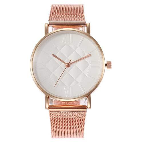 ZSDGY Sencillo y Colorido Reloj de Cuarzo con Correa de Malla de aleación para Mujer E