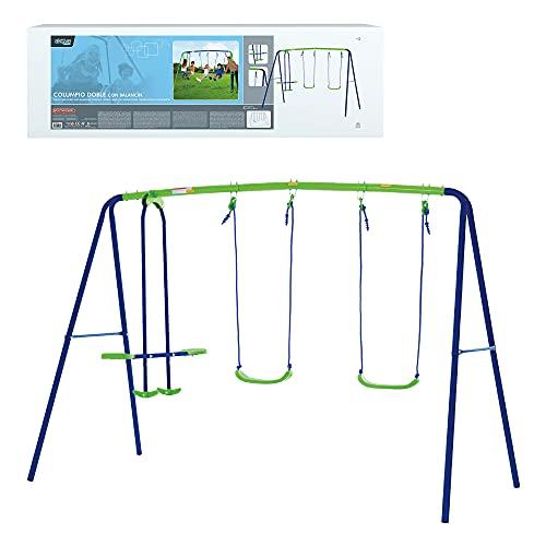 Aktive 54080 - Columpio jardín exterior para niños, Columpio infantil, Columpio doble, Balancín para niños, medidas 280x140x179 cm, 4 asientos, peso máx 180 kg, +3 años, Aktive Sports