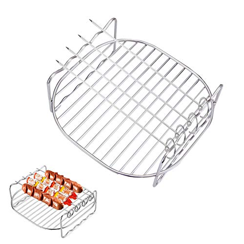 An image of the HSIULMY Air Fryer Double Layer Rack, Multi-purpose Air Fryer Accessories with 4 Skewers, 6.8 Inch Stainless Steel Airfryer Grill Pan Compatible with Go Wise/Phillips Airfryer (Fit 3.5-5.8QT)