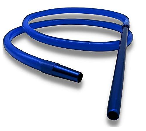 DOJA Barcelona | Manguera Cachimba | 185 cm | Color Azul | Mangueras de Silicona para Shisha Hookah | Tubo con extremo de Aluminio para Cachimba Shisha, Pipas de fumar, pipas de agua para fumar.