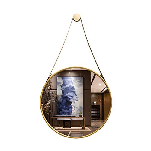 Retro Wandspiegel aus Metall mit Aufhängebügel, Makeup Rasierspiegel Spiegel für Schlafzimmer, Badezimmer und Wohnzimmer Gold
