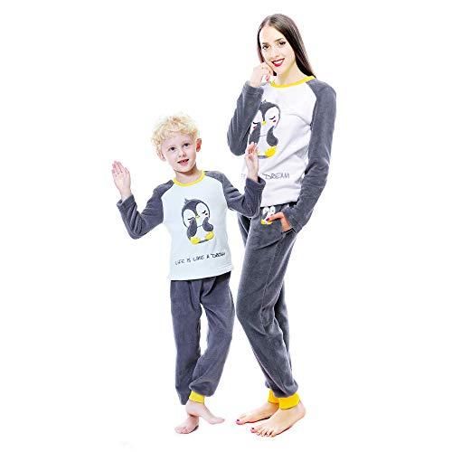 Alcea Rosea Conjunto de pijama cálido de manga larga para mujer y niña Pingüino gris. Large