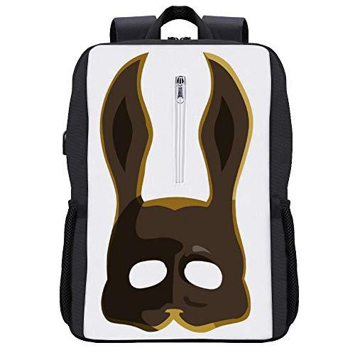 Brauner Splicer Hasenmaske Bioshock Rucksack Daypack Bookbag Laptop Schultasche mit USB-Ladeanschluss