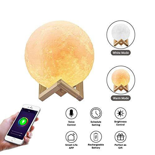Lámpara Inteligente para la Luna, Compatible con Amazon Alexa y Google Assistant, Control de WiFi, luz de la Luna en 3D, Colores cálidos y Frescos, Material de PLA, Carga USB para el hogar y el niño