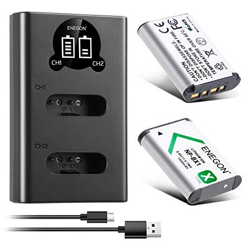 ENEGON Akku NP-BX1 (1300mAh 2-Pack) und LCD-Ladegerät passend für Sony NP-BX1 und Sony ZV-1, Cyber-Shot DSC-RX100, DSC-RX100 II/III/M4/M5/M6/M7/Ⅳ/Ⅴ/Ⅵ/Ⅵ/Ⅶ/VA, DSC-RX100M II, HDR-CX405