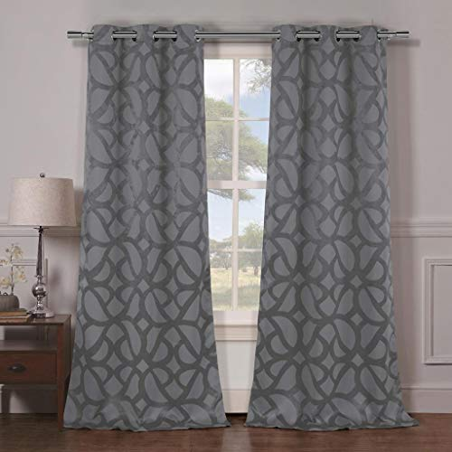 Duck River Textiles - Home Fashion Geometric Blackout Room Darkening Grommet Top Window Curtains Pair Panel Drapes for Bedroom, Living Room - Set of 2 Panels - 38 X 84 Inch - Grey