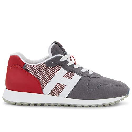 Hogan H383 Herren Sneakers Grau und Rot – HXM4290AN51 N1H50 CM – Größe, Mehrfarbig - mehrfarbig - Größe: 41 EU
