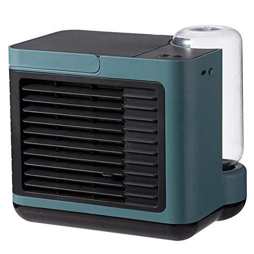 YGTMV Air Cooler Mini,Wiht 3 Velocidades Aires Acondicionados Móviles,LED Aire Acondicionado,3 En 1 Table Fan Humídrico De Aire para Seguridad del Exterior,Verde