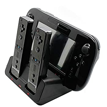 Tekdeals 3-in-1 Charger Dock Charging Station Base with Two Rechargeable Batteries and USB Cable for Wii U Remote Gamepad Controller Black