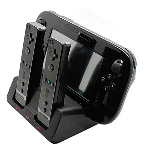 Tekdeals 3-in-1 Charger Dock Charging Station Base with Two Rechargeable Batteries and USB Cable for Wii U Remote Gamepad Controller, Black