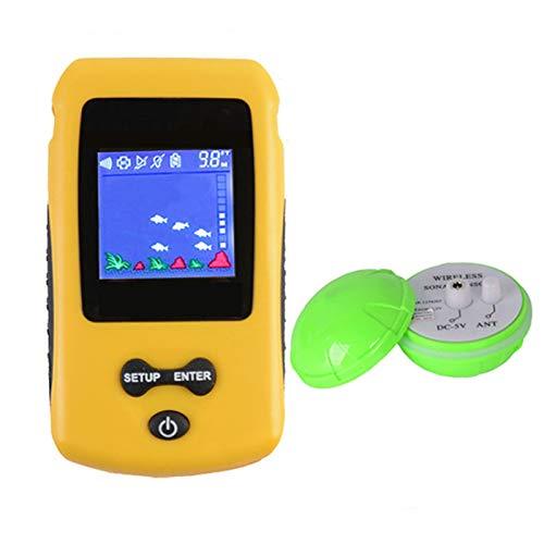 PF Buscador De Pesca, Sensor De Sonda Inalámbrico Portátil, Atractor De Peces Y Equipo De Pesca con Pantalla Colorida, Batería De Litio Recargable Dual Yellow