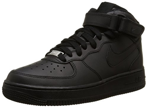 NIKE - Zapatillas de deporte Air Force 1 Mid 06 , Niños , Blanco (White/White), Negro (004 BLACK/BLACK), 36