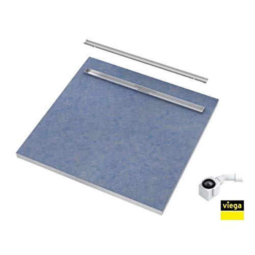 Duschelement 80x80x5/10,5 Duschboard bodengleich Beflisbar Abdeckung PLATE Ablauf Viega SLIM LUX