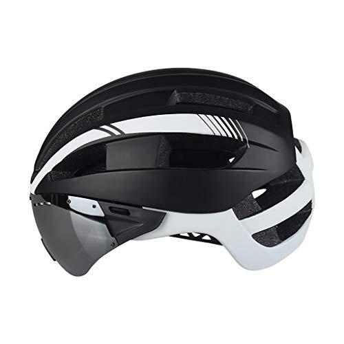 Fahrradhelm mit Schild Visier,Geschützter Fahrradhelm mit Visor Shield Helm für Männer Frauen Mountain & Road Fahrradhelm Einstellbarer Sicherheitsschutz Skateboarding Ski & Snowboard (A)