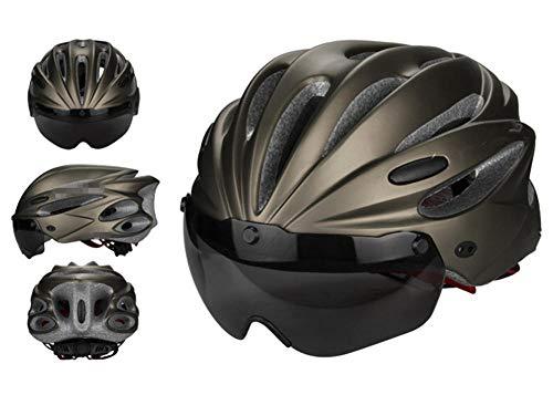 Pkfinrd Fahrradhelm abnehmbare Schutzbrille Sonnenblende Damen Herren Fahrrad Mountainbike und Rennrad Helm einstellbar Erwachsenensicherheit Schutz und Belüftung@Titangrau_Eine Größe