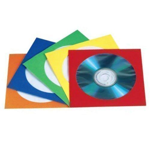 CD / DVD Papierhüllen mit durchsichtigem Fenster und Lasche, Bunt, 100 Stück