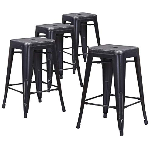 LCH 24 Inch Metal Industrial Patio Bar Stools, Set of 4 Indoor/Outdoor Counter Stackable...