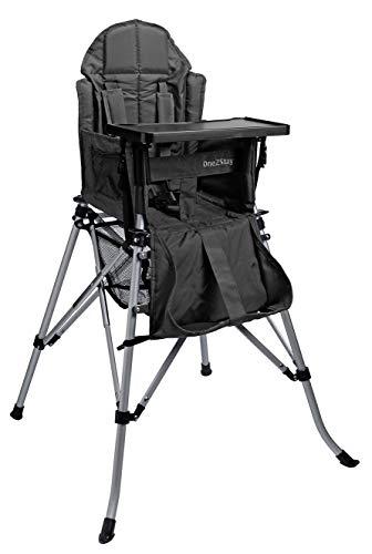 One2Stay Comfort, Faltbare Hochstuhl mit einer bequem und verstellbarer Rückenlehne, Abnehmbarer Esstisch, schwarz