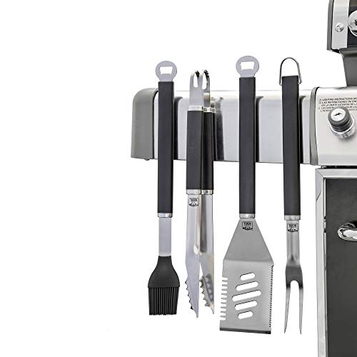 Yukon Glory Premium BBQ Grilling Tools Set, Extra Heavy Duty Stainless Steel with Powerful Embedded Magnets Allows Convenient Placement. Ensure Your Grill is Magnetic