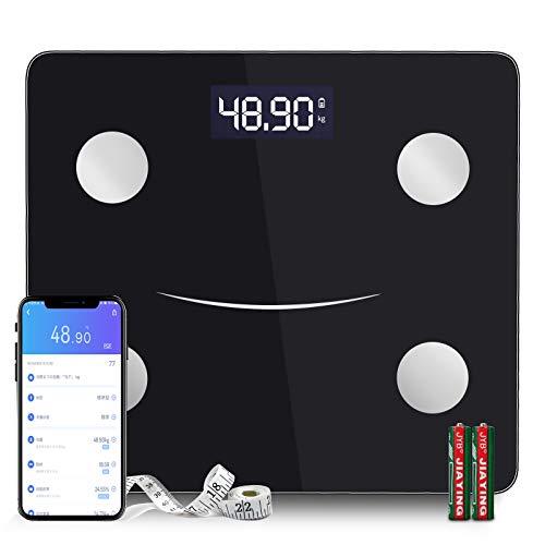 体重計 体組成計 体脂肪計 Bluetooth スマホ対応 体脂肪率やBMI/体重/基礎代謝など測定できる ダイエットや健康管理に役立つ 収納便利 180 kgまで 日本語説明書付き (ブラック)