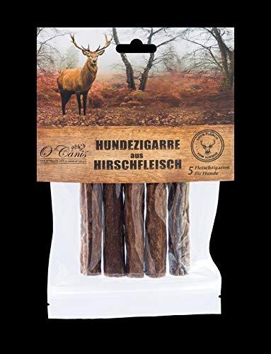 O´Canis Hunde-Zigarre aus Hirschfleisch 1x 5 Stück - New 2cm mehr Fleisch !