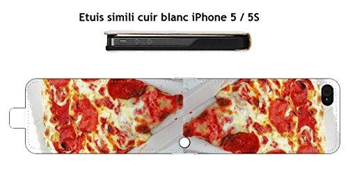 Diseño de Pizza para Apple Iphone 5/5S Carcasas piel blanco