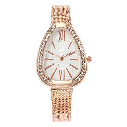 ZSDGY Reloj Creativo de Gota de Agua, Reloj de Cuarzo con Correa de Malla de Acero Inoxidable para Damas con Diamantes completos D