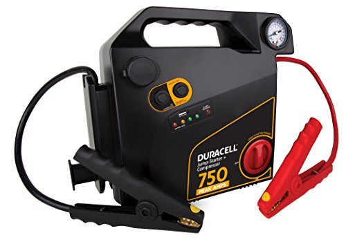 Read About Duracell Portable Emergency Jumpstarter with Compressor, 750 Peak Amps