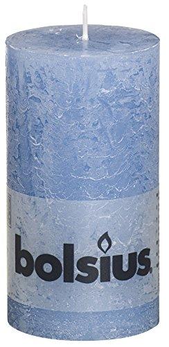 Bolsius Regular Textured Pillar Candle in 'Denim Blue'