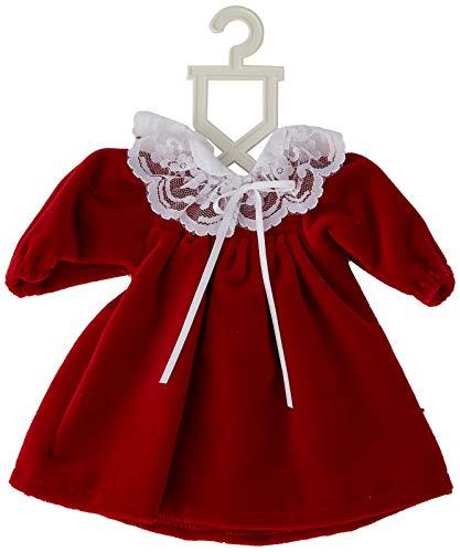 Puppenmode Sturm 2601-0 sammetsklänning med bubikrage för dockor, röd