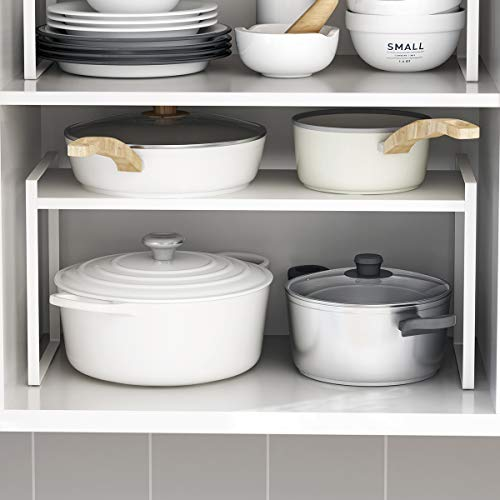 """Countertop Organizer, Cupboard Stand Spice Rack, 16"""" Cabinet Pantry Shelf, Organization and Storage For Kitchen Bathroom, Metal Plate Milky White"""